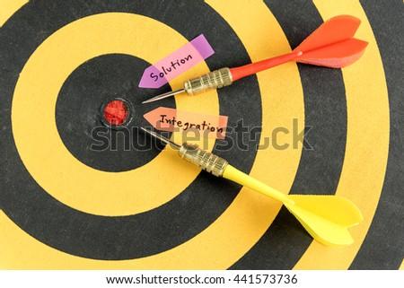 Alphabet handwriting solution integration with target arrow near bullseye over dartboard background - stock photo