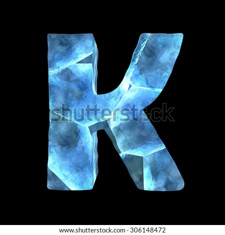 alphabet ice (isolated on black)  - stock photo