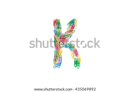 Alphabet K made from Color paper clips