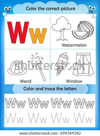 Alphabet Learning Letters Coloring Graphics Printable Worksheet For Preschool Kindergarten Kids Letter W