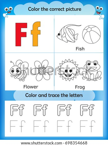 Alphabet Learning Letters Coloring Graphics Printable Worksheet For Preschool Kindergarten Kids Letter F