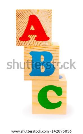 Alphabet letter ABC blocks for kids isolated on white - stock photo