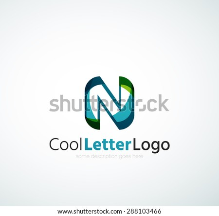 Alphabet letter logo. Created with transparent colorful overlapping geometric shapes, waves and flowing shapes - stock photo