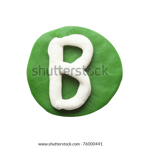 Alphabet letter using plasticine and clay. Letter B - stock photo