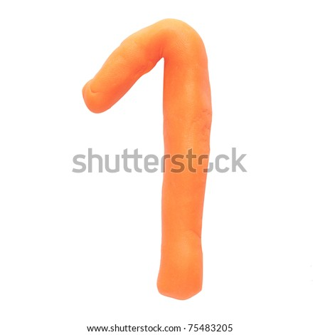 Alphabet letter using plasticine and clay. Number 1 - stock photo