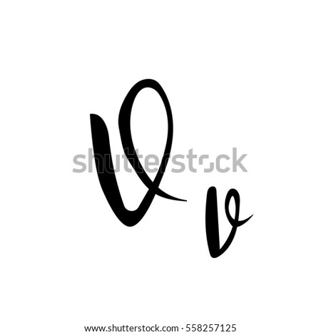 Alphabet Letter V Lettering Calligraphy Manuscript