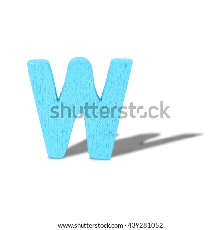 alphabet letter wood long shadow  on white background