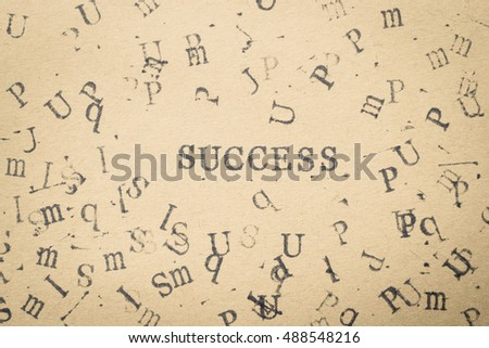 alphabet letter word success from stamp letters font on paper for success concept background