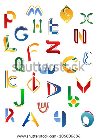 Alphabet letters and icons isolated on white background from A to Z, such logo. Vector version also available in gallery