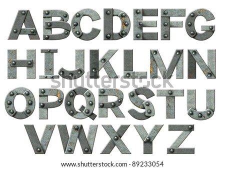 Alphabet - letters from rusty metal with rivets. Isolated over white - stock photo