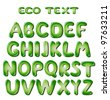 Alphabet letters in green colors - stock photo