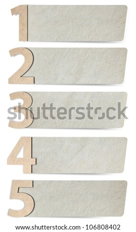 alphabet letters number paper and paper banners. isolated on white background ( 1 2 3 4 5 ) Save Paths For design work - stock photo