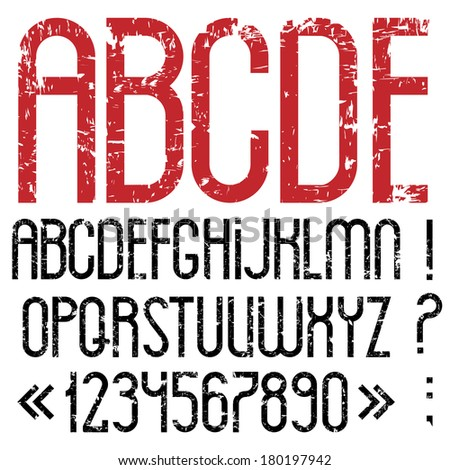Alphabet letters, numbers and punctuation marks in grunge style.Raster version - stock photo