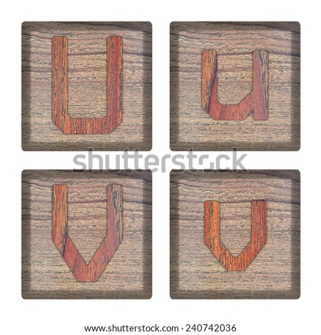 alphabet made from wood, isolated - stock photo