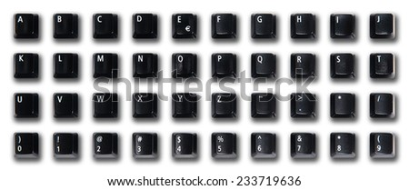Alphabet made of black computer keys with shadow, white background  - stock photo
