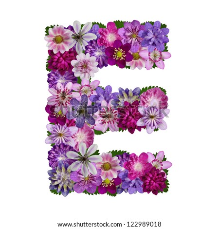 alphabet made flower letter e stock photo edit now 122989018