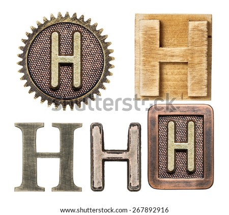 Alphabet made of wood and metal. Letter H - stock photo