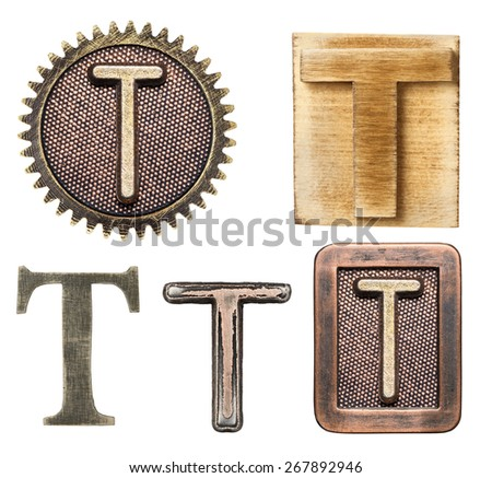 Alphabet made of wood and metal. Letter T - stock photo