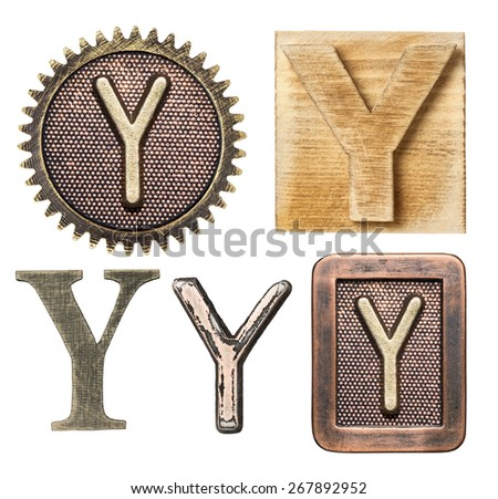Alphabet made of wood and metal. Letter Y - stock photo