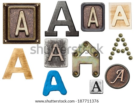 Alphabet made of wood, metal, plasticine. Letter A - stock photo