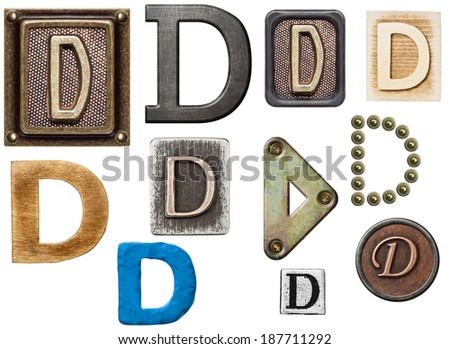 Alphabet made of wood, metal, plasticine. Letter D - stock photo