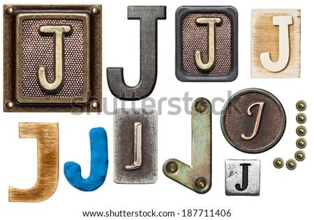 Alphabet made of wood, metal, plasticine. Letter J - stock photo