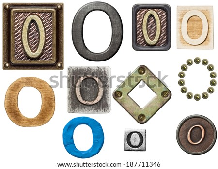 Alphabet made of wood, metal, plasticine. Letter O - stock photo