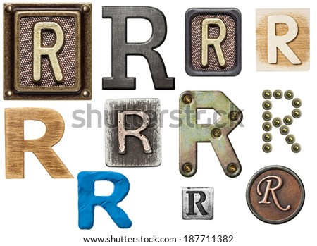 Alphabet made of wood, metal, plasticine. Letter R - stock photo