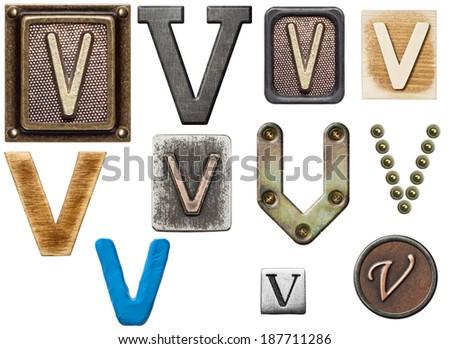 Alphabet made of wood, metal, plasticine. Letter V - stock photo