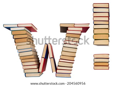 Alphabet made out of old books, letter W and exclamation mark - stock photo