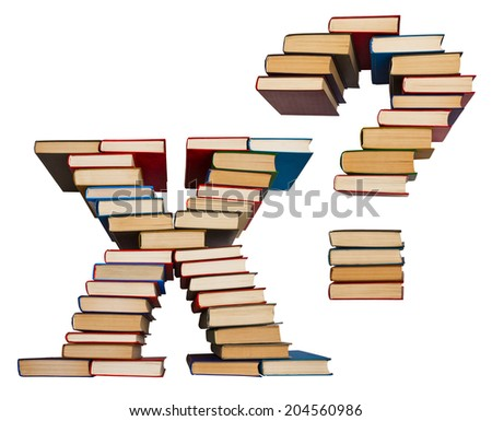 Alphabet made out of old books, letters X and question mark - stock photo