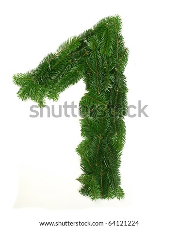 "Alphabet No. ""1"" made of Abies branches"