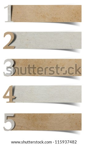 alphabet number recycled paper craft stick on white background ( 1 2 3 4 5 ) - stock photo