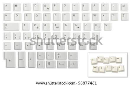 Alphabet, numbers and some other keyboard keys shot individually then cropped and combined in a single image, isolated on white. Meant as a design resource to compose messages. - stock photo