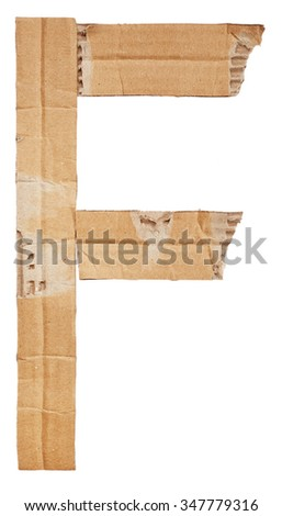 Alphabet of cardboard isolated on white background. Letter F