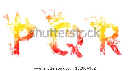 Alphabet of colored smoke - P Q R - stock photo