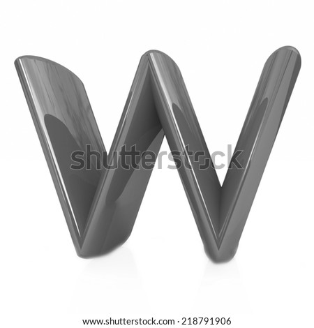 "Alphabet on white background. Letter ""W"" on a white background - stock photo"