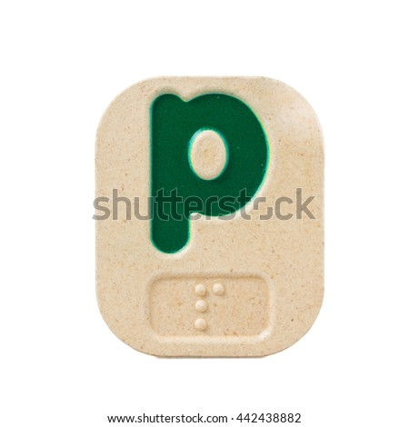alphabet p on white background  with Braille. - stock photo