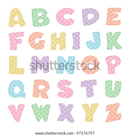 Alphabet , Pastel Polka Dot pattern with stitching. Original letter design for scrapbooks, albums, crafts and back to school projects.