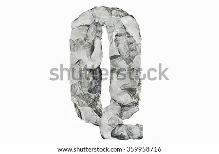 Alphabet Q, created by a group of stone isolated on white background