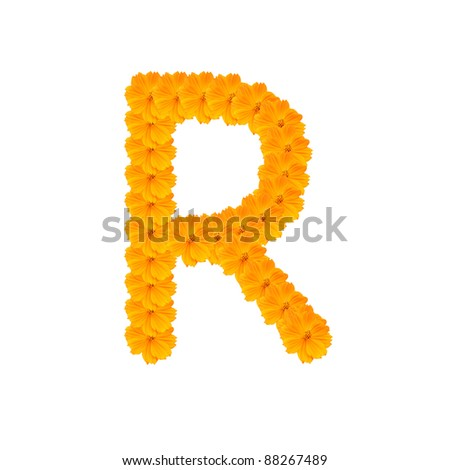 alphabet R from yellow and orange flowers. Isolated on white background. With clipping path