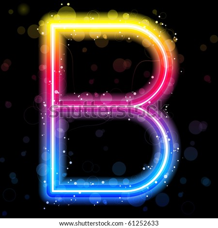 Alphabet Rainbow Lights  Glitter with Sparkles - stock photo