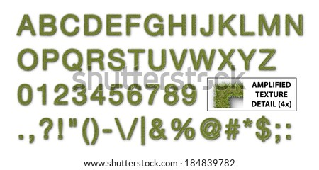 Alphabet set Covered with a grass texture and isolated on a white background. - stock photo