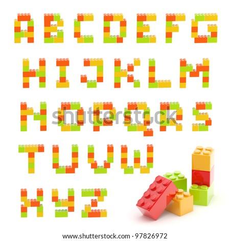 Alphabet set made of toy construction brick blocks isolated isolated on white - stock photo