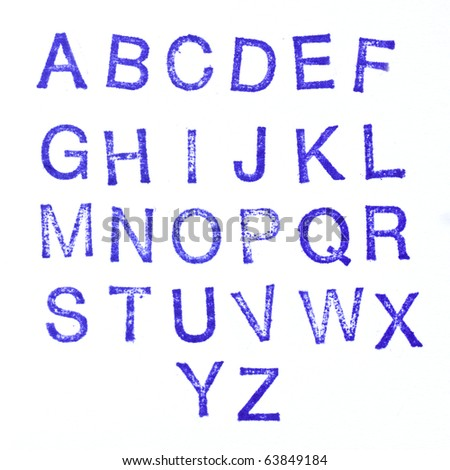Alphabet stamp, all letters - stock photo
