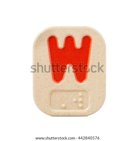 alphabet W on white background  with Braille - stock photo