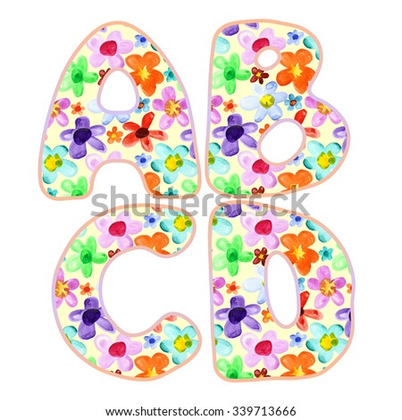 Alphabet with colorful watercolor flower pattern. Letters A, B, C, D - stock photo
