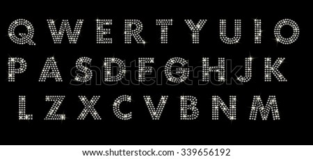 alphabet with diamonds, letters from A to Z - stock photo