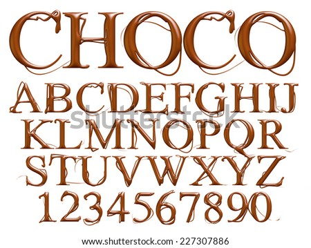 Alphabet with digits made from chocolate syrup are isolated on a white background  - stock photo