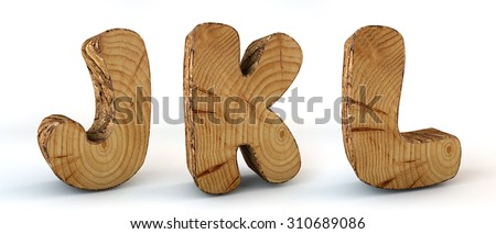 Alphabet wood - texture tree - font 3d render - J, K, L - Paths save